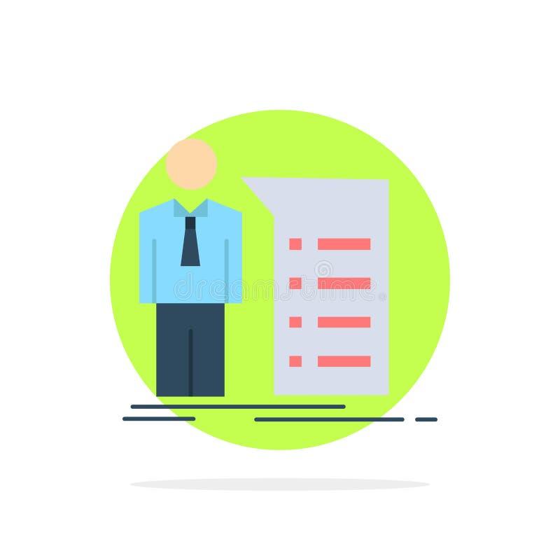 Biznes, wyjaśnienie, wykres, spotkanie, prezentacja koloru ikony Płaski wektor ilustracji