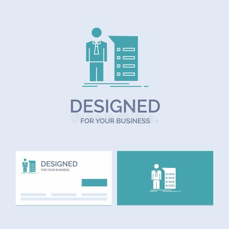 Biznes, wyjaśnienie, wykres, spotkanie, prezentacja logo glifu ikony Biznesowy symbol dla twój biznesu Turkusowe wizyt?wki ilustracji