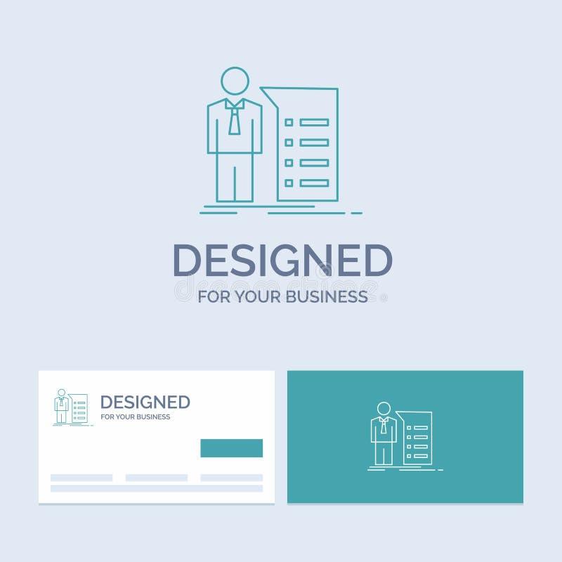 Biznes, wyjaśnienie, wykres, spotkanie, prezentacja logo linii ikony Biznesowy symbol dla twój biznesu Turkusowe wizyt?wki ilustracja wektor