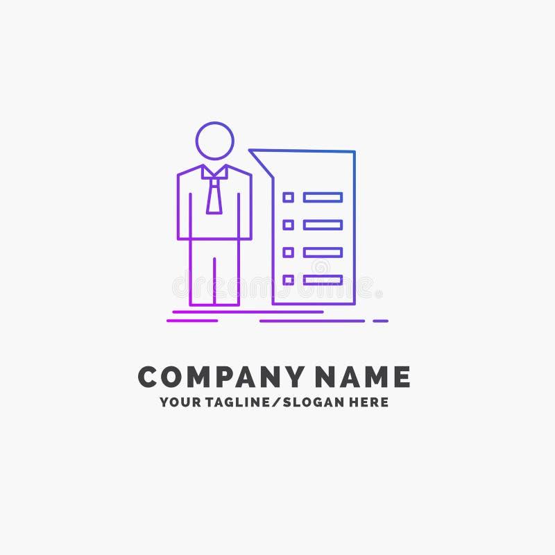 Biznes, wyjaśnienie, wykres, spotkanie, prezentacja logo Purpurowy Biznesowy szablon Miejsce dla Tagline royalty ilustracja