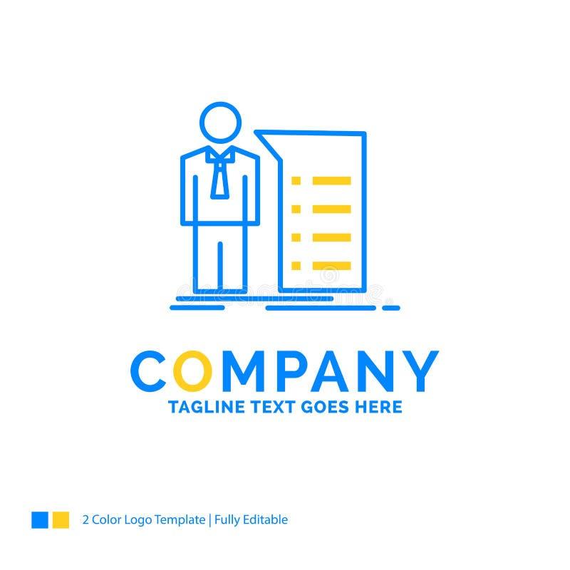 Biznes, wyjaśnienie, wykres, spotkanie, prezentacji błękita kolor żółty royalty ilustracja