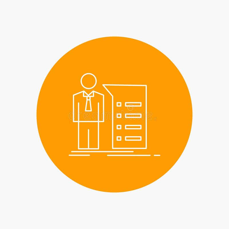 Biznes, wyjaśnienie, wykres, spotkanie, prezentacji Białej linii ikona w okręgu tle Wektorowa ikony ilustracja ilustracja wektor