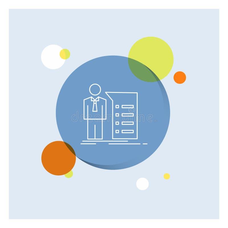 Biznes, wyjaśnienie, wykres, spotkanie, prezentacji Białej linii ikony okręgu kolorowy tło ilustracja wektor