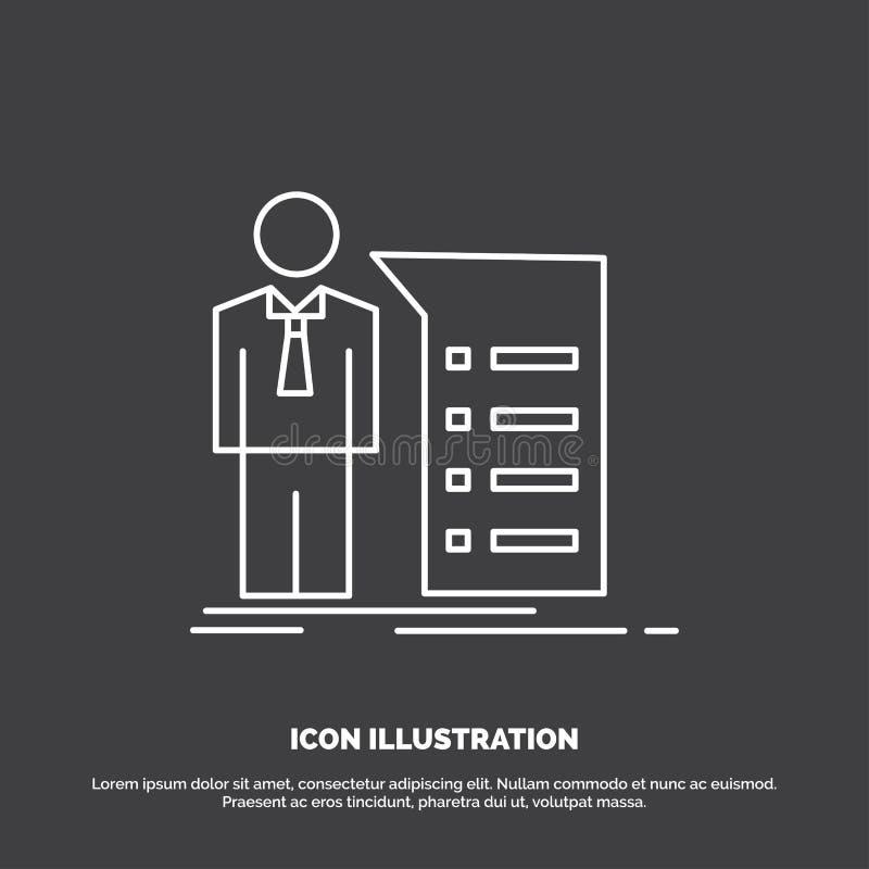 Biznes, wyjaśnienie, wykres, spotkanie, prezentacji ikona Kreskowy wektorowy symbol dla UI, UX, strona internetowa i wisz?cej ozd ilustracji