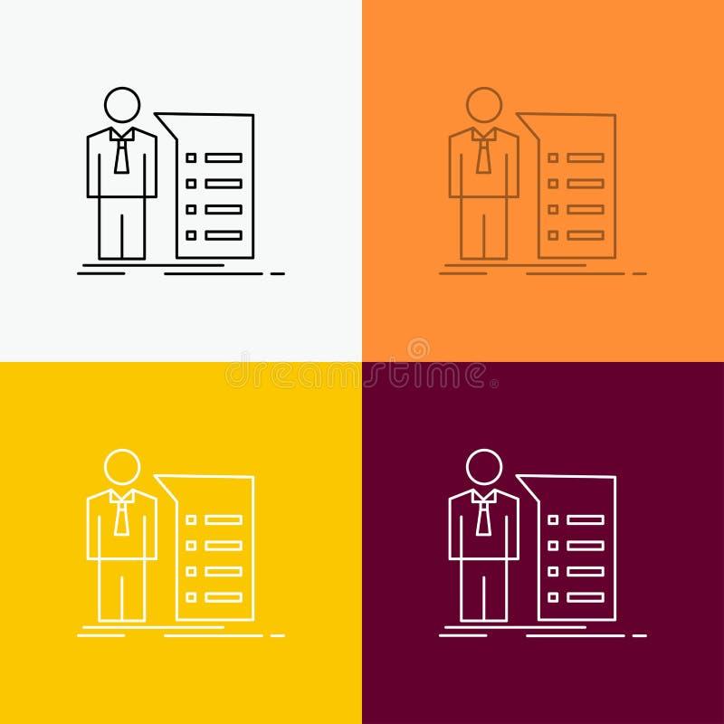 Biznes, wyjaśnienie, wykres, spotkanie, prezentacji ikona Nad Różnorodnym tłem Kreskowego stylu projekt, projektuj?cy dla sieci i ilustracji