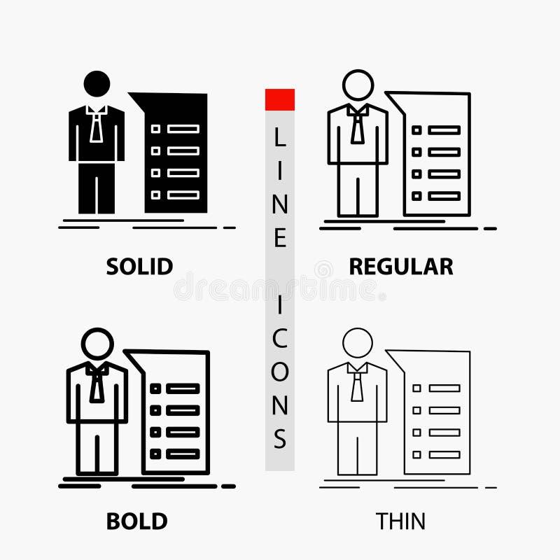Biznes, wyjaśnienie, wykres, spotkanie, prezentacji ikona w linii i glifie Cienkiej, Miarowej, Śmiałej, Projektuje r?wnie? zwr?ci ilustracja wektor