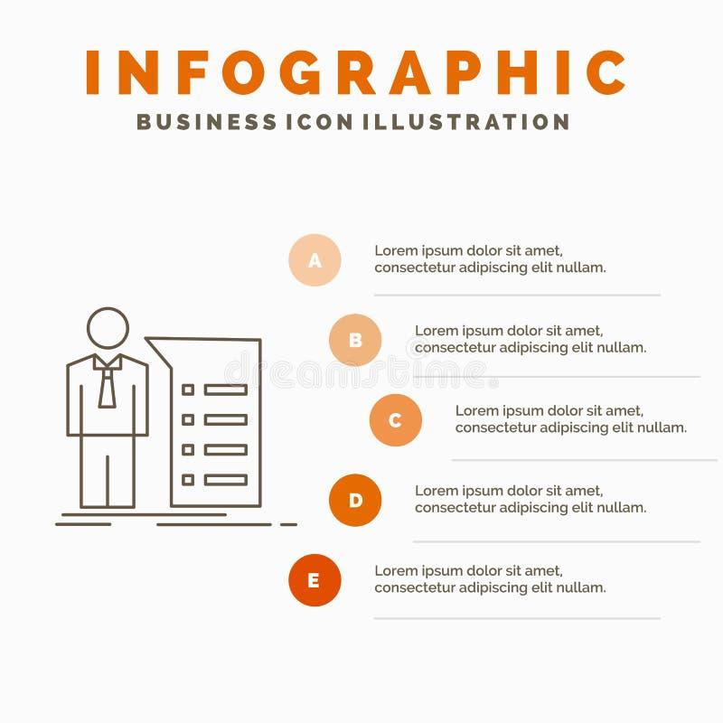 Biznes, wyjaśnienie, wykres, spotkanie, prezentacji Infographics szablon dla strony internetowej i prezentacja, Kreskowa Szara ik royalty ilustracja