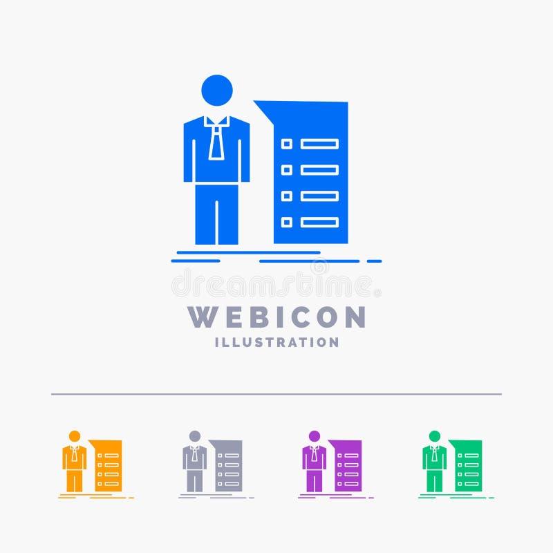 Biznes, wyjaśnienie, wykres, spotkanie, prezentacji 5 koloru glifu sieci ikony szablon odizolowywający na bielu r?wnie? zwr?ci? c ilustracja wektor