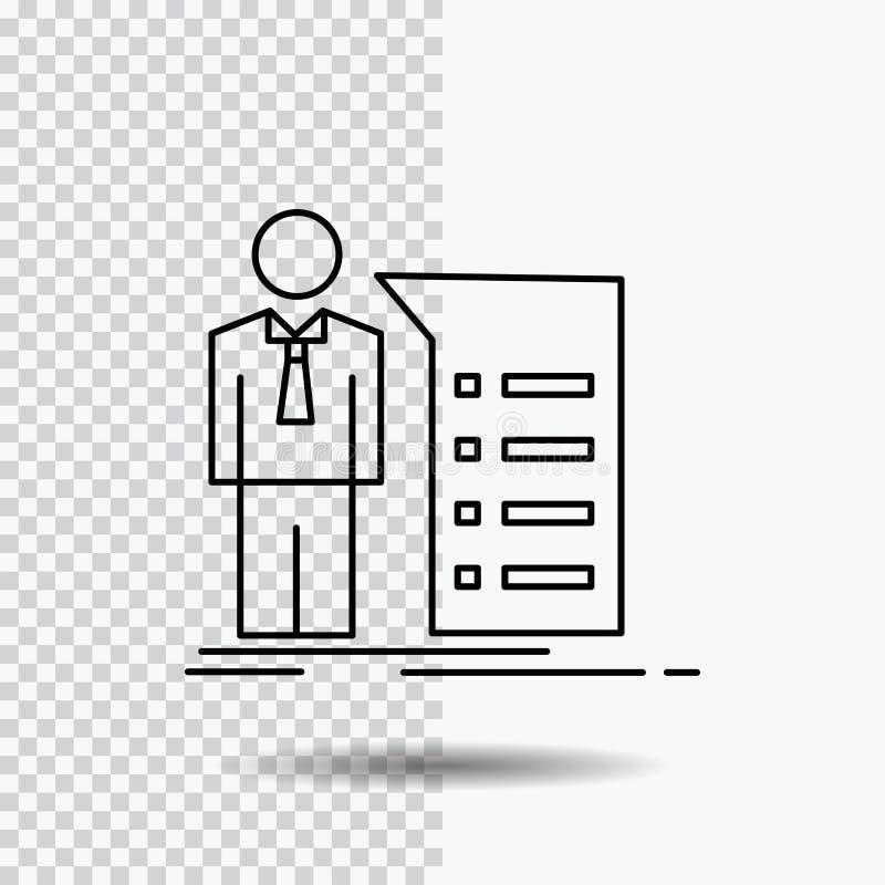 Biznes, wyjaśnienie, wykres, spotkanie, prezentacji Kreskowa ikona na Przejrzystym tle Czarna ikona wektoru ilustracja royalty ilustracja