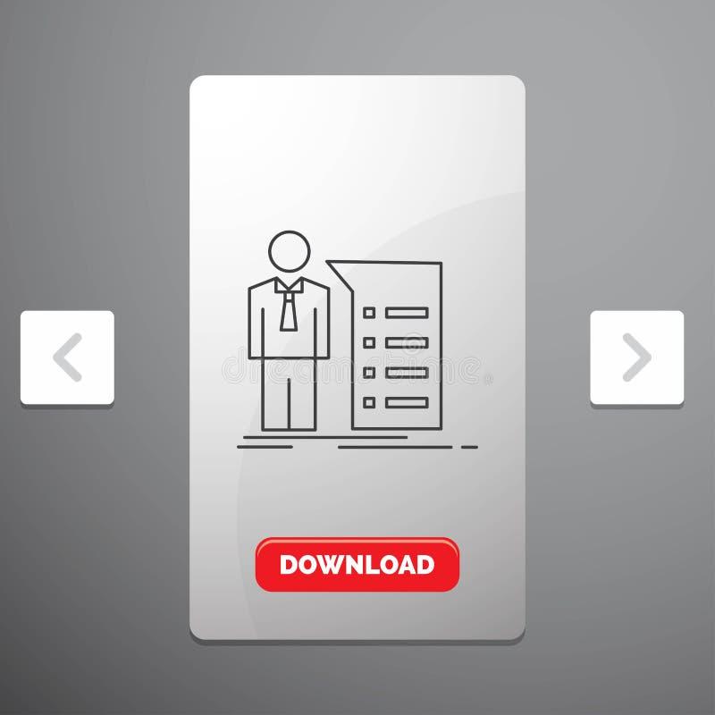 Biznes, wyjaśnienie, wykres, spotkanie, prezentacji Kreskowa ikona w biby paginacji suwaka projekcie & Czerwony ściąganie guzik, ilustracji