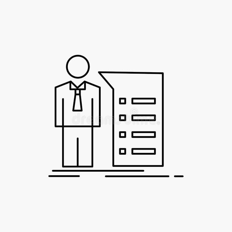 Biznes, wyjaśnienie, wykres, spotkanie, prezentacji Kreskowa ikona Wektor odosobniona ilustracja ilustracja wektor