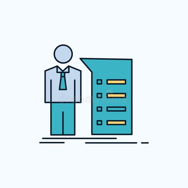 Biznes, wyjaśnienie, wykres, spotkanie, prezentacji mieszkania ikona ziele?, kolor ilustracja wektor