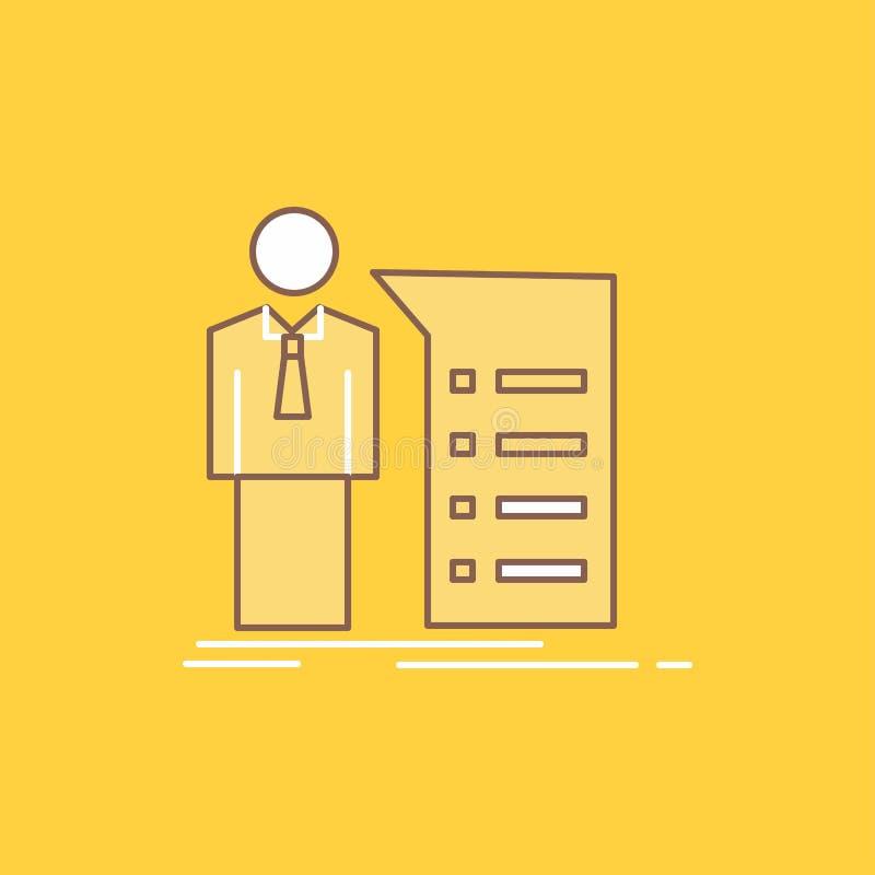 Biznes, wyjaśnienie, wykres, spotkanie, prezentacji mieszkania linia Wypełniał ikonę Pi?kny logo guzik nad ? ilustracji