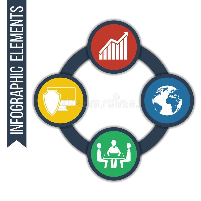Biznes Wzrostowy abstrakcjonistyczny tło z związanymi okręgami i zintegrowanymi ikonami ilustracji