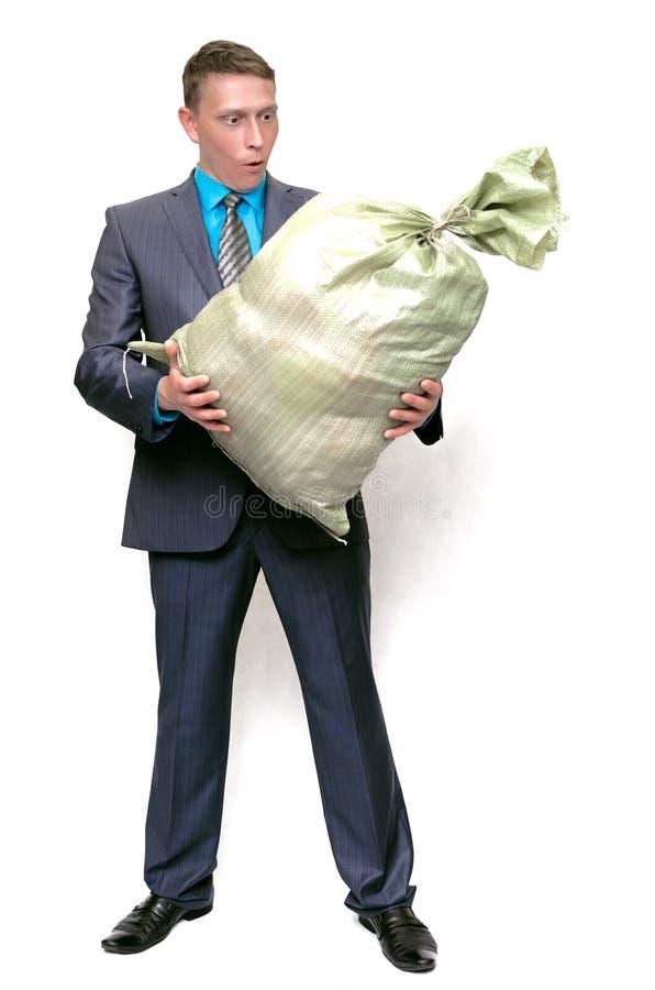 Biznes z śmieciarską grat torbą zdjęcia royalty free