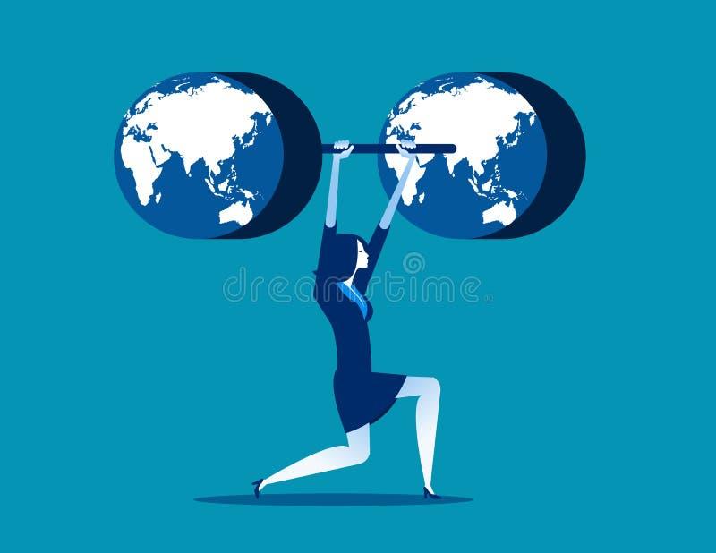 Biznes z weightlifting Pojęcia biznesowy wektorowy illustratio royalty ilustracja