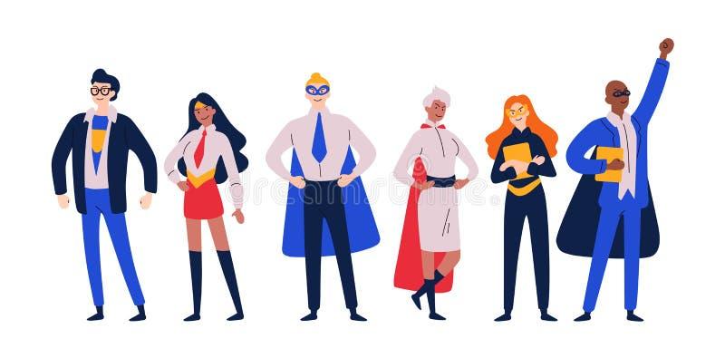 Biznesmenów bohaterzy Przedsiębiorca, kierownik w bohatera kostiumu ilustracja wektor