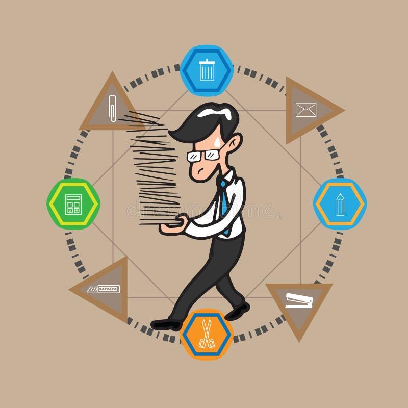 Biznesmenów chwytów stos dokumenty infographic ilustracja wektor