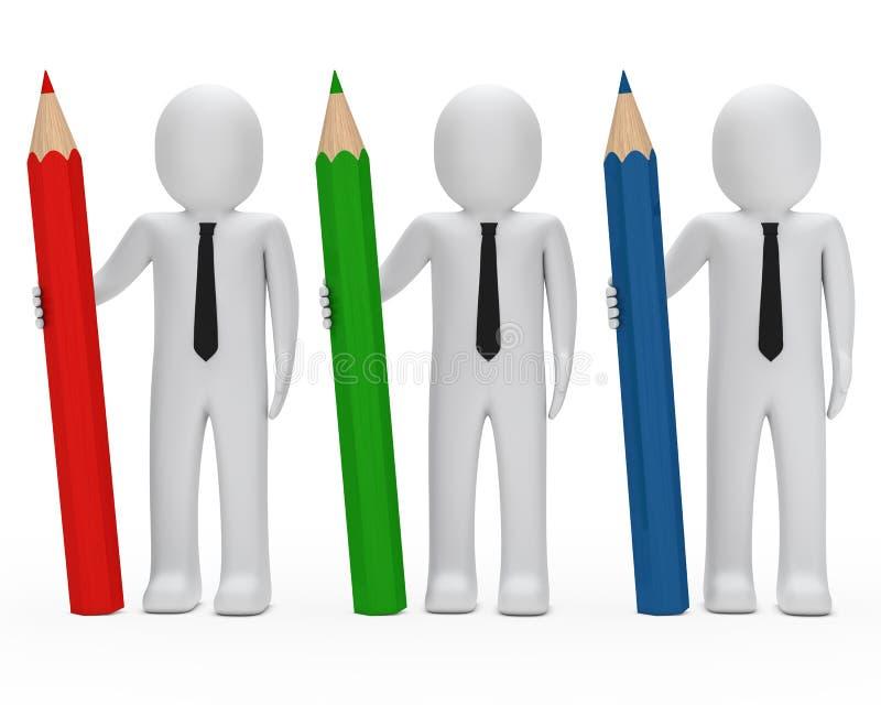 biznesmenów chwyta ołówek ilustracja wektor