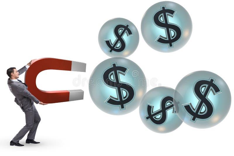 Biznesmenów chwytający dolary na podkowa magnesie royalty ilustracja