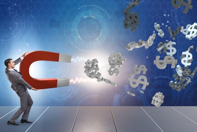 Biznesmenów chwytający dolary na podkowa magnesie ilustracja wektor