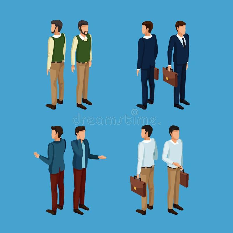 Biznesmenów 3d ikony ilustracja wektor
