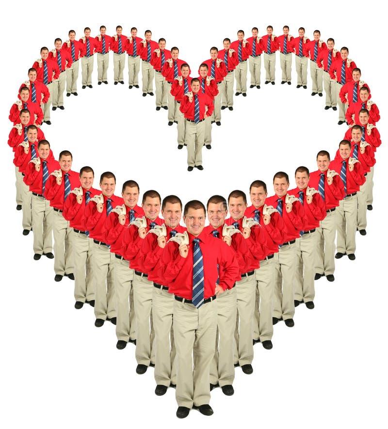 biznesmenów kolażu kierowe czerwone koszula fotografia stock