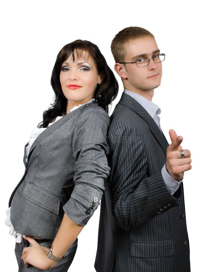 biznesmenów pary odosobniony portret obraz royalty free