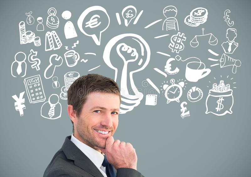 Biznesmenów pomysły z Biznesowych grafika rysunkami zdjęcie royalty free