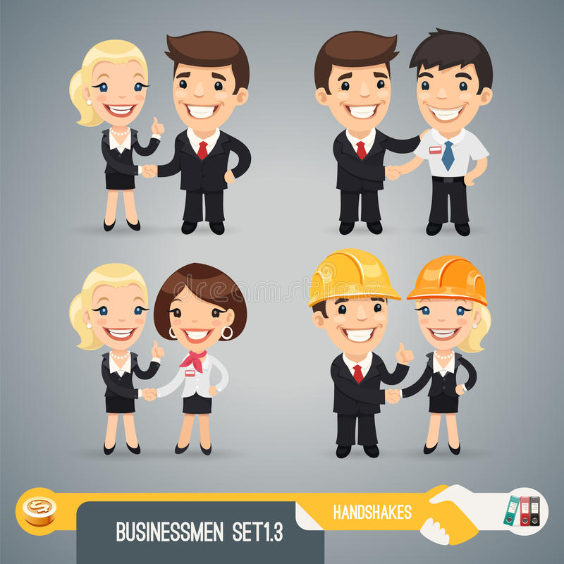 Biznesmenów postać z kreskówki Set1.3 ilustracja wektor