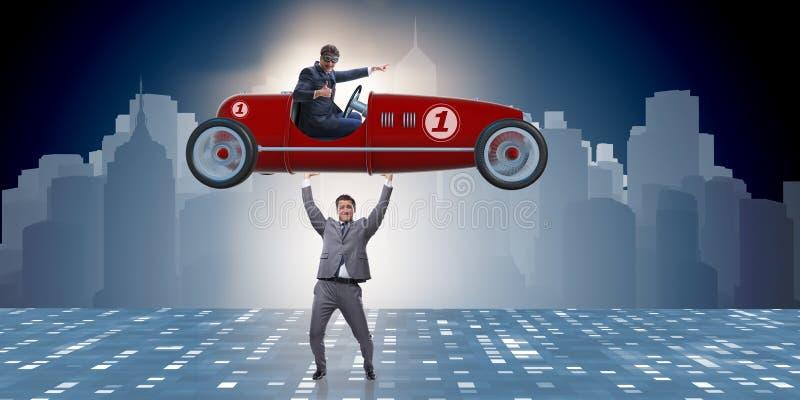 Biznesmenów sportów podnośny samochód w władzy pojęciu obrazy royalty free