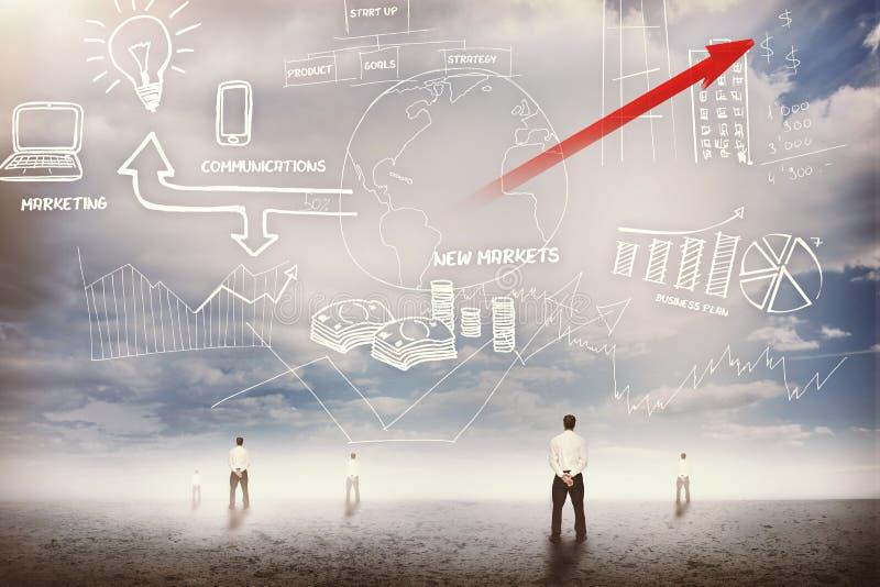 Biznesmenów stać przyglądający przy biznesowym flowchart 3d up ilustracja wektor