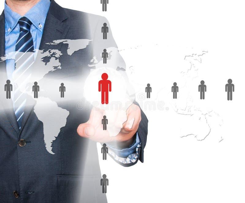 Biznesmenów wzruszający działy zasobów ludzkich podpisują - HR, HRM, HRD pojęcie zdjęcia stock
