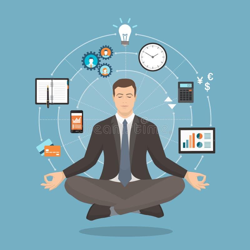 Biznesmen ćwiczy medytacja ilustracja wektor