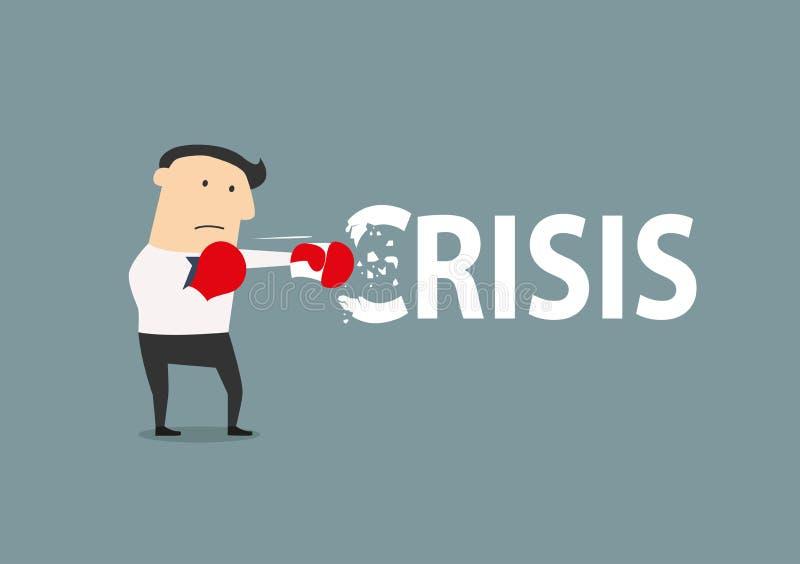 Biznesmen łama kryzys ilustracji