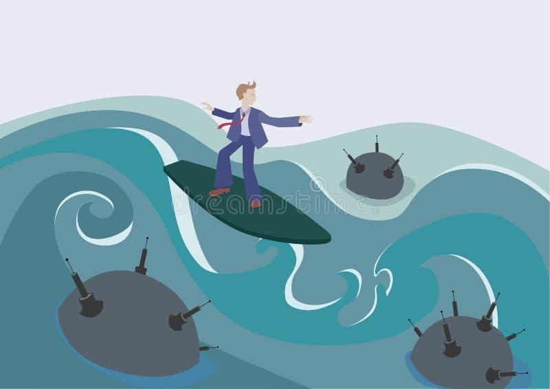 Biznesmen łapie fala wśród niebezpiecznego nawadnia royalty ilustracja