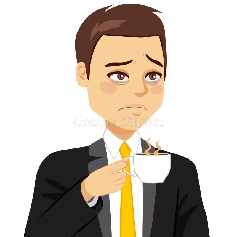 Biznesmen Śpiąca Pije kawa royalty ilustracja