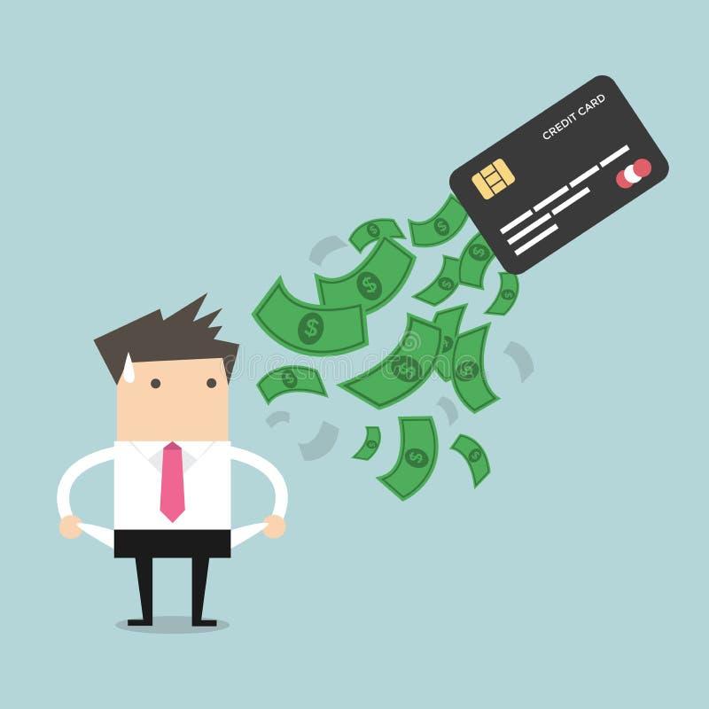 Biznesmen żadny pieniądze dług od kredytowej karty Pojęcie dług royalty ilustracja
