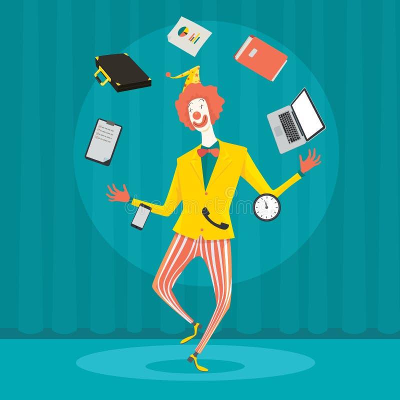 Biznesmen żongluje z biurowym wyposażeniem ilustracji