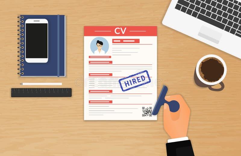 Biznesmen akceptujący CV ilustracji