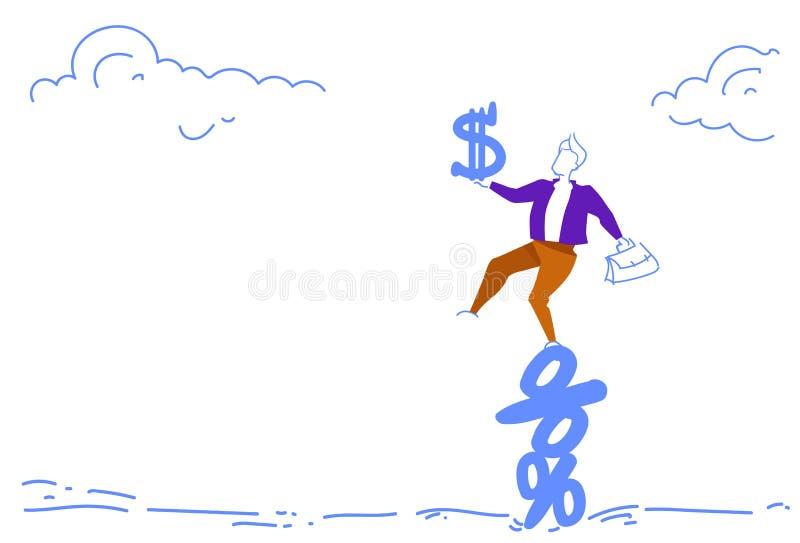 Biznesmen balansuje procent trzyma dolarowego pieniężnego ostrosłupa pieniądze ryzyka pojęcia doodle nakreślenie horyzontalny ilustracji