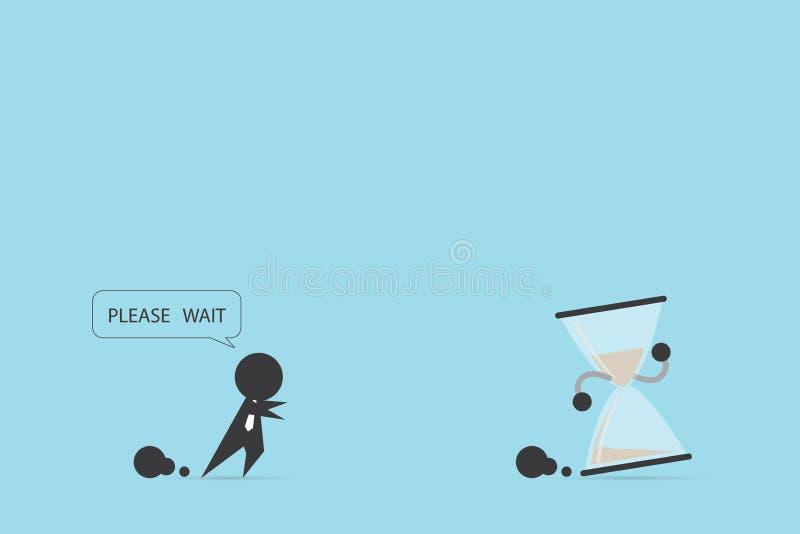 Biznesmen biega łapać hourglass, czas i biznesu pojęcie, ilustracji