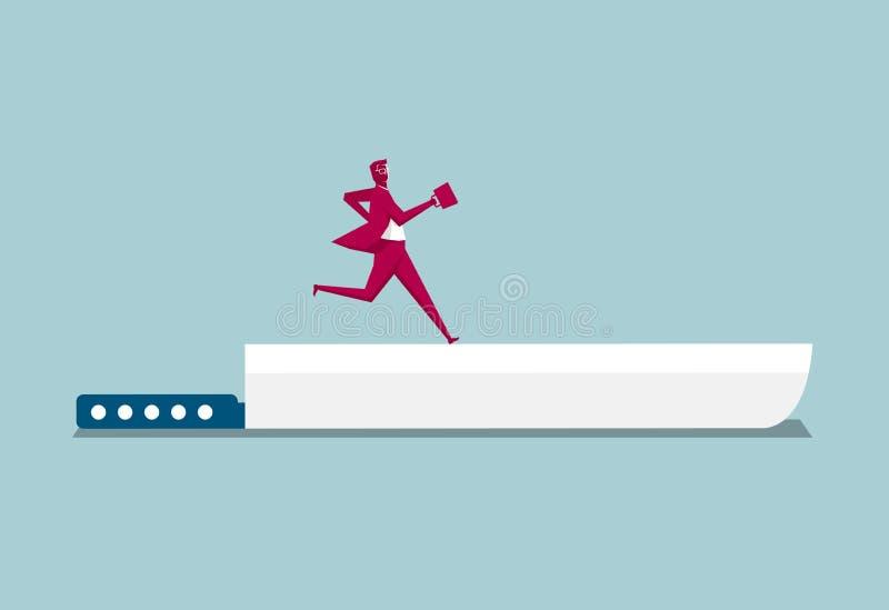 Biznesmen biega na nożu ilustracji