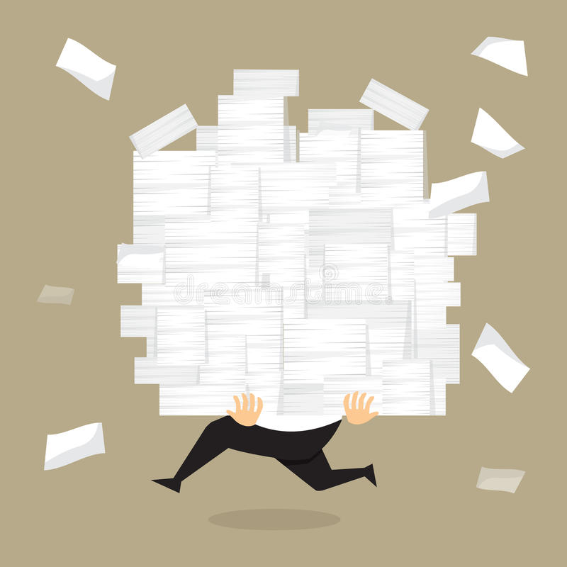 Biznesmen biega trzymać mnóstwo dokumenty w jego rękach ilustracji