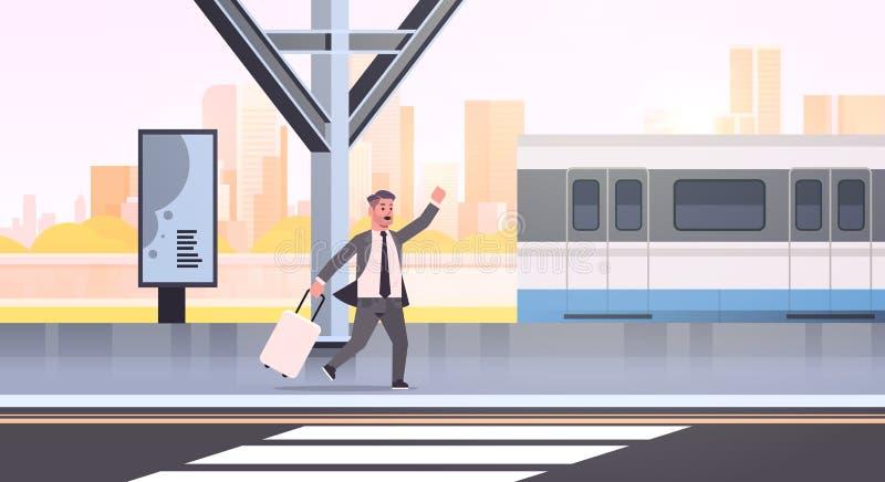 Biznesmen biegnący po to, by złapać trenera z bagażem na dworcu kolejowym, miejski komiks transportu publicznego ilustracja wektor