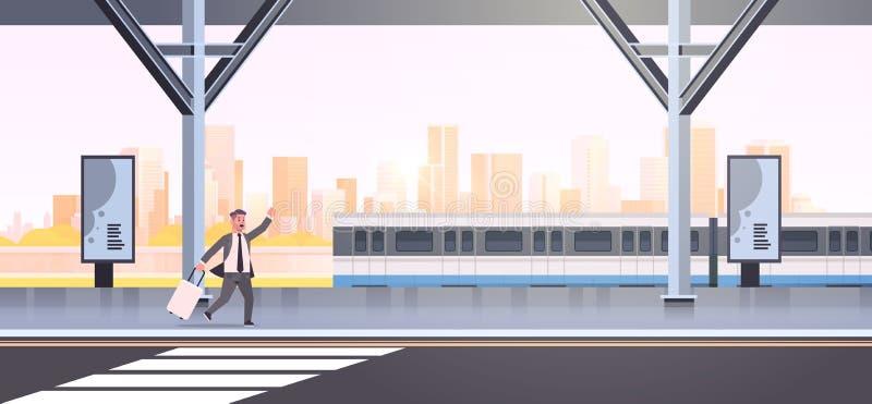 Biznesmen biegnący po to, by złapać trenera z bagażem na dworcu kolejowym, miejski komiks transportu publicznego royalty ilustracja