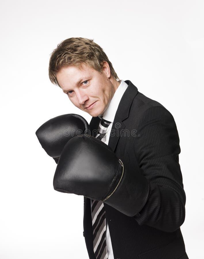 biznesmen bokserskie rękawiczki fotografia stock