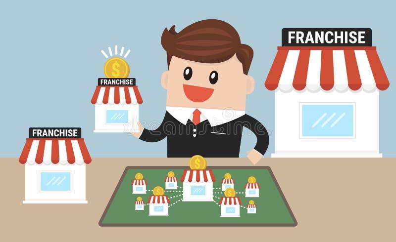 Biznesmen chce rozszerzać jego biznes, przywileju pojęcie royalty ilustracja