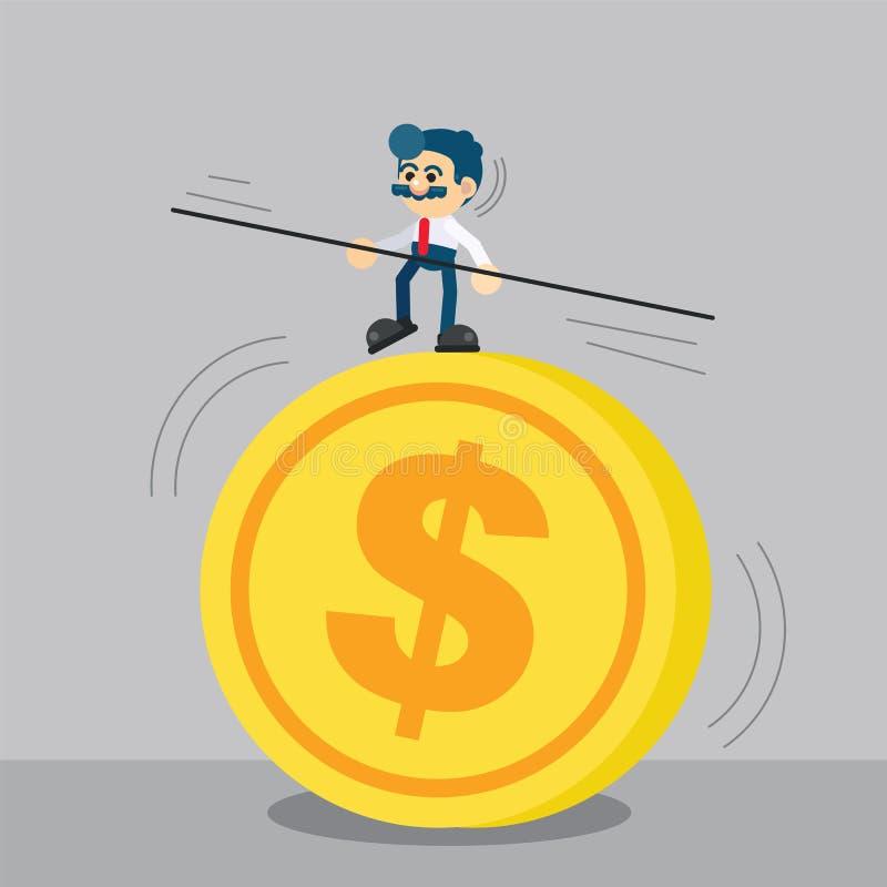 Biznesmen chodzący od dużej monety daleko od ostrożnie ilustracji