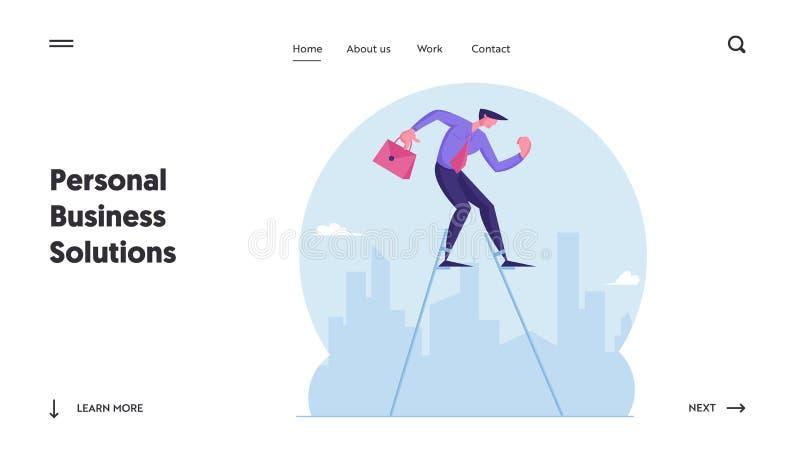 Biznesmen chodzący po Stilts w Cityscape Background Strona docelowa witryny internetowej Kryzys Ewakuacyjny Skoncentrowanego Prze ilustracja wektor